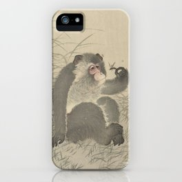 Monkey with insect - Ohara Koson (1900 - 1930) iPhone Case
