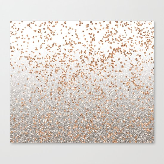 Glitter sparkle mix - rose gold & silver Canvas Print