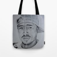 tupac Tote Bags featuring Tupac  by Brooke Shane