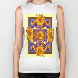 Cream Color-Brown-Blue Sunflower Patterned  Art Biker Tank