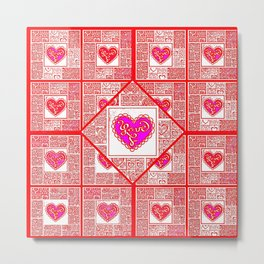 Big hearted Love (pink) Metal Print
