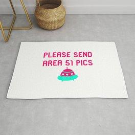 Please Send Area 51 Pics Alien Spaceship Quote Rug