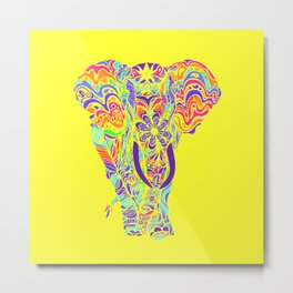 Not a circus #elephant #Yellow by #Bizzartino Metal Print