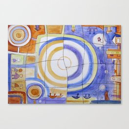 "Puzzle Painting "" Day and Night "" . Mixed media painting . Canvas Print"