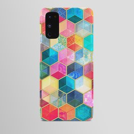 Crystal Bohemian Honeycomb Cubes - colorful hexagon pattern Android Case