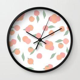 pink and orange peach pattern Wall Clock