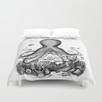 octopus Duvet Covers featuring Octopus by Eugenia Hauss