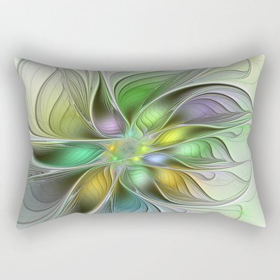 Colors Make My Day, Abstract Fractal Art Rectangular Pillow