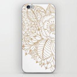 Elegant white faux gold glitter modern floral iPhone Skin