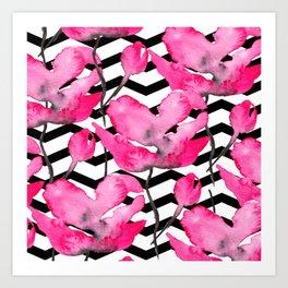 Modern neon pink floral watercolor black pattern geometric chevron Art Print