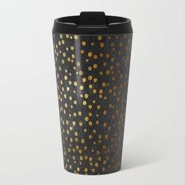 Gold polkadots dots on black backround-Elegant and Luxury Design Travel Mug