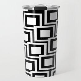 Black and White Squares Pattern 02 Travel Mug
