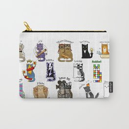 Science cats. History of great discoveries. Schrödinger cat, Tesla, Einstein. Physics, chemistry etc Carry-All Pouch