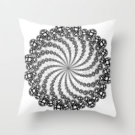 An illustration of Mandala spiral made of a single element Throw Pillow