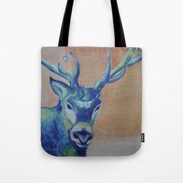 Blue Reindeer by Amit Grubstein  Tote Bag