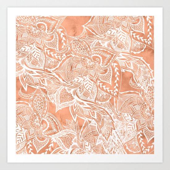 Modern tan copper terracotta watercolor floral white boho hand drawn pattern Art Print