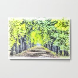 Forest Path Watercolour Art Metal Print
