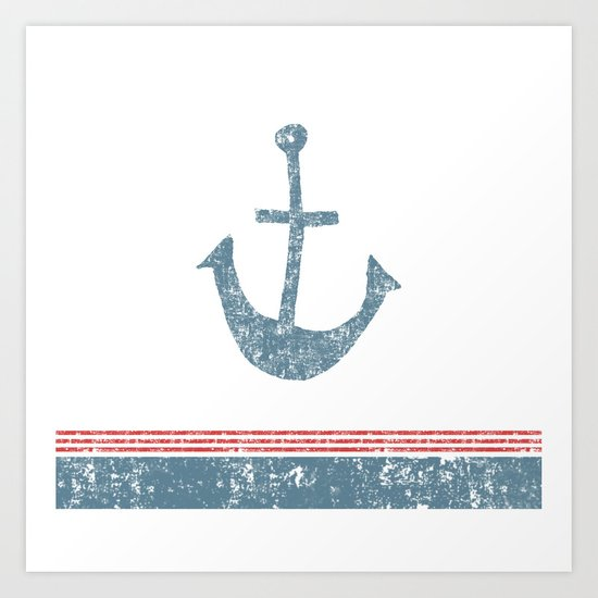 Maritime Design- Nautic Anchor on stripes in blue and red #Society6 Art Print