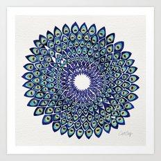 Peacock Mandala – Navy & Gold Art Print