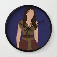 les miserables Wall Clocks featuring Eponine - Samantha Barks - Les Miserables minimalist with rain by Hrern1313