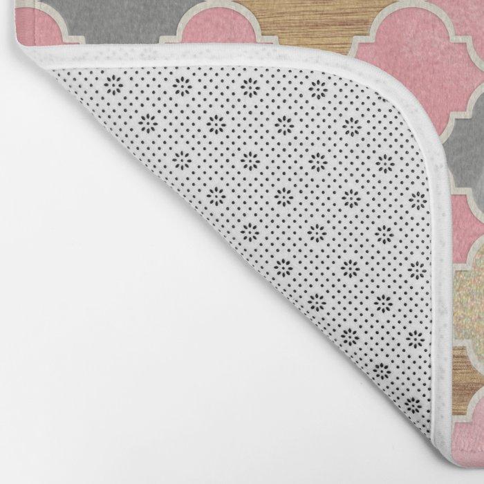 Silver Grey, Soft Pink, Wood & Gold Moroccan Pattern Bath Mat