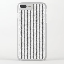 Silver and Black Faux Fox Fur Design Clear iPhone Case