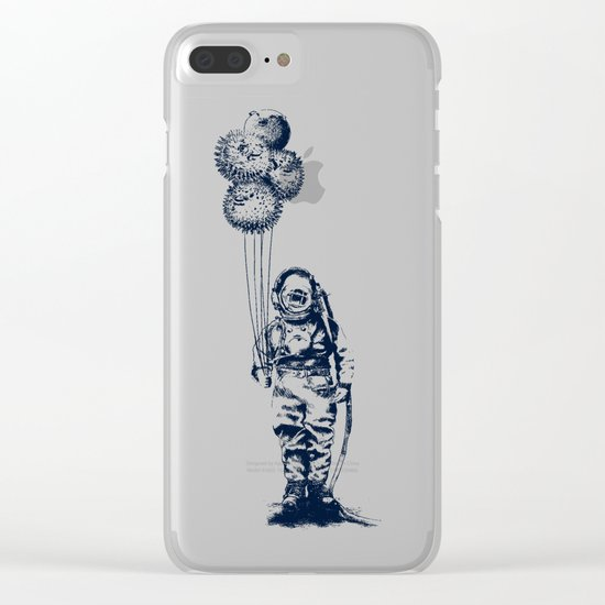 Balloon Fish - monochrome option Clear iPhone Case