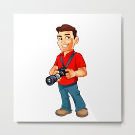 photographer cartoon with camera Metal Print