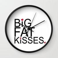 psych Wall Clocks featuring big fat kisses, shawn and julia, psych by studiomarshallarts