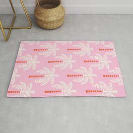 Kitschy Palm Trees on Pink Rug