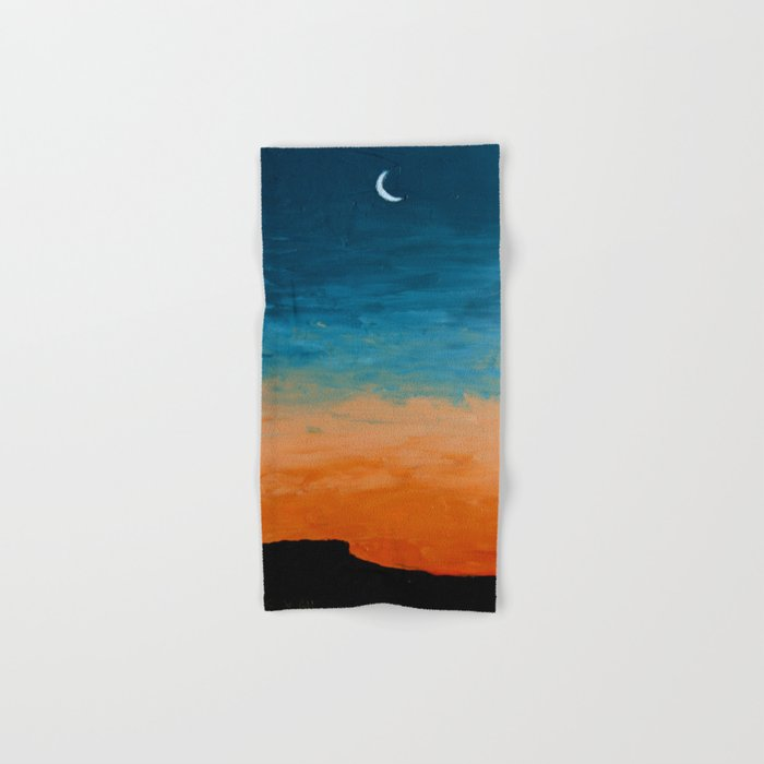 Pre-Dawn Moonrise, painting Hand & Bath Towel