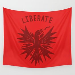 phoenix liberate crest x typography Wall Tapestry