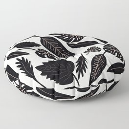 Monstera pattern in black and pastel Floor Pillow