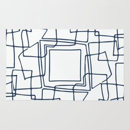 Decorative blue and white abstract squares Rug