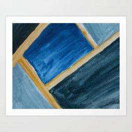 Blue Abstract Geometry Art Print