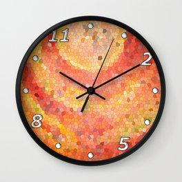 Portal. Red orange mosaic drawing Wall Clock