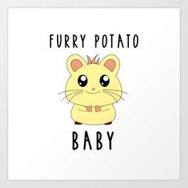Funny Golden Hamster Pet Furry Potato Baby Gift Design Art Print