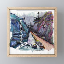 Eleven MiIe Canyon with text Framed Mini Art Print