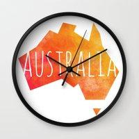 australia Wall Clocks featuring Australia by Stephanie Wittenburg