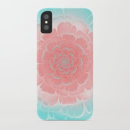 Romantic aqua and pink flower, digital abstracts iPhone Case