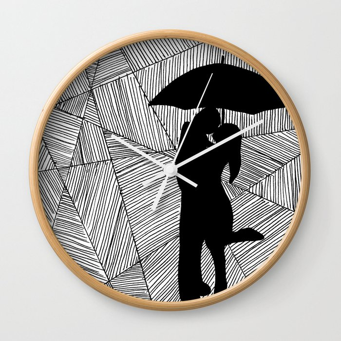 Man And Lady With Umbrella Silhouette Wall Clock Awesome Design