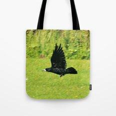 black crow in flight Tote Bag