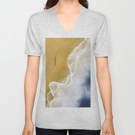 Surfer On The Beach From Above  Unisex V-Neck
