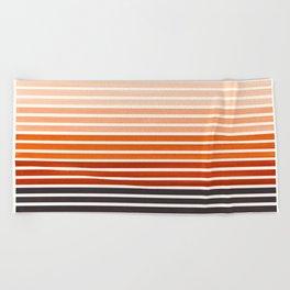 Watercolor Gouache Mid Century Modern Minimalist Colorful Burnt Sienna Stripes Beach Towel