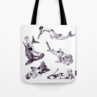 iwatobi Tote Bags featuring For the Team by Blue