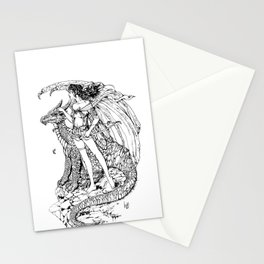 girl and dragon Stationery Cards