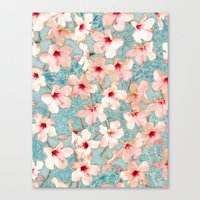 bedding Canvas Prints featuring Shabby Chic Hibiscus Patchwork Pattern in Peach & Mint by micklyn