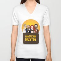 movie poster V-neck T-shirts featuring American Hustle Movie Poster by Gary  Ralphs Illustrations