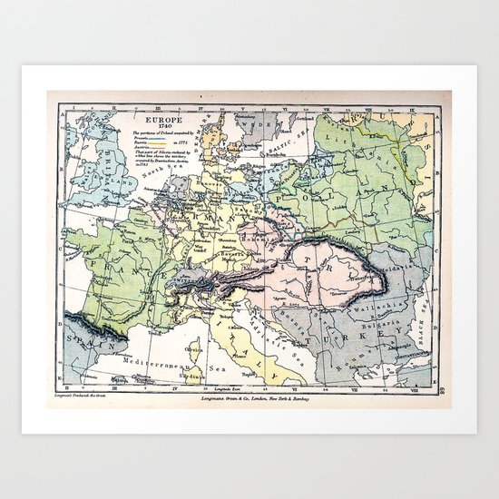 Europe in 1740 - Vintage Map Collection Art Print