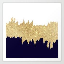 Modern navy blue white faux gold glitter brushstrokes Art Print